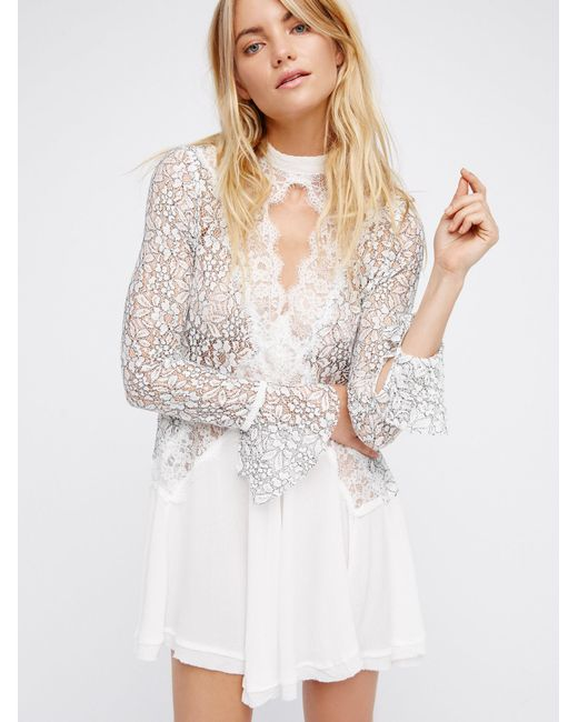 Free People | White Secret Origins Pieced Lace Tunic | Lyst