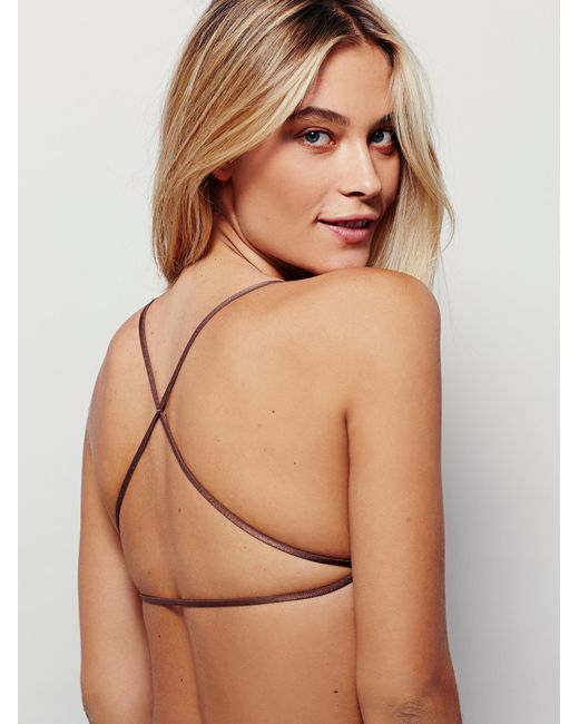 Free People - Brown Essential Lace Racerback - Lyst