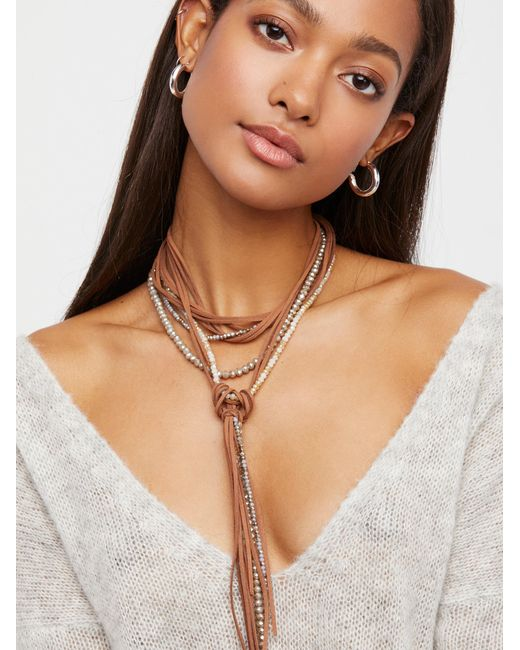 Free People   Brown Leather X Raw Stone Bolo Necklace   Lyst