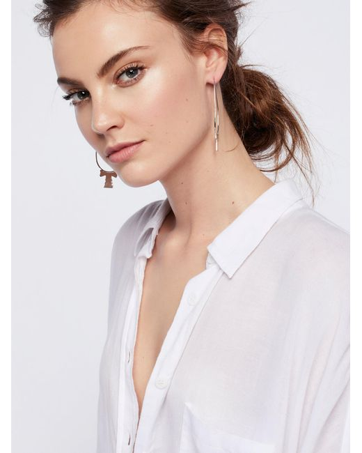 Free People | Metallic Molten Cross Brass Hoops | Lyst