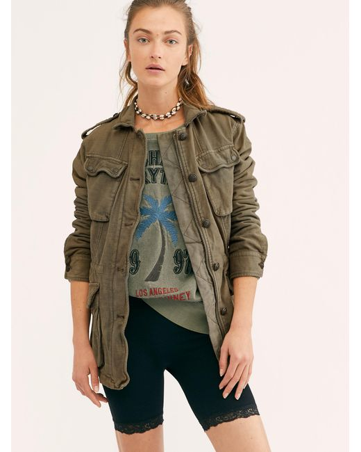 83aa456df9fde Free People - Green Not Your Brother's Surplus Jacket - Lyst ...