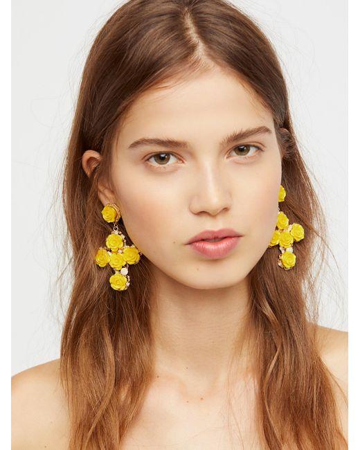Free People | Yellow Rose Cross Statement Earrings | Lyst