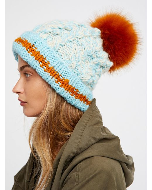 Free People | Multicolor Happy Trails Stripe Pom Beanie | Lyst