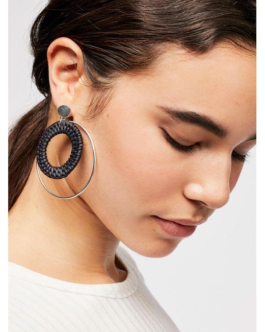 Free People - Multicolor Circle Straw Hoop Earrings - Lyst
