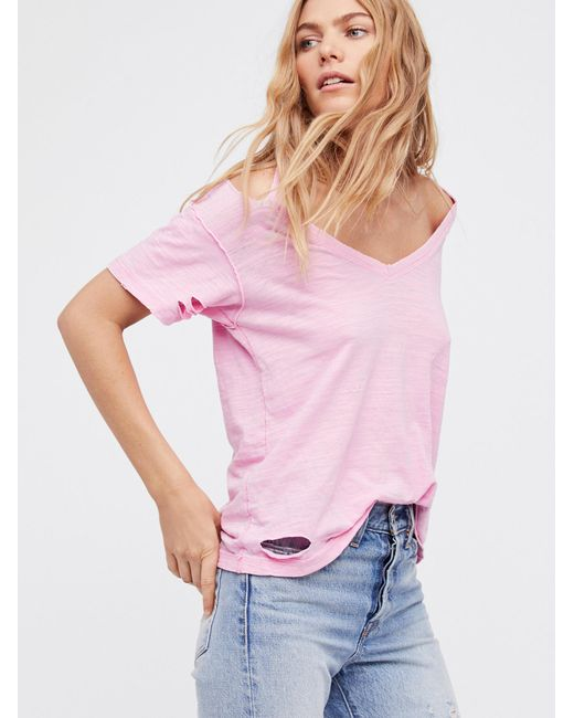Free People | Pink We The Free Surfs Up Tee | Lyst