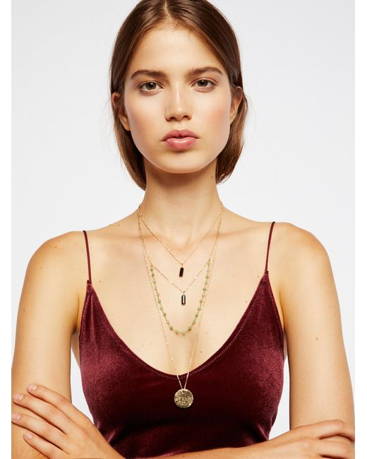 Free People | Multicolor Semiprecious Stone Coin Necklace | Lyst
