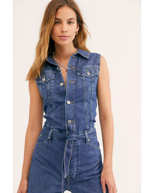 0ba40edb30 Lyst - Free People Levi s Cropped Taper Jumpsuit By Levi s in Blue