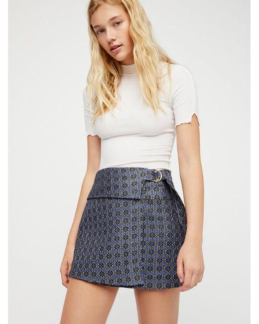 Free People | Blue All The Shine Mini Skirt | Lyst