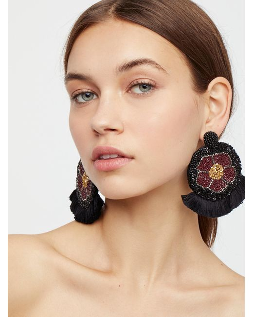 Free People - Black Havana Fringe Front Hoop Earrings - Lyst