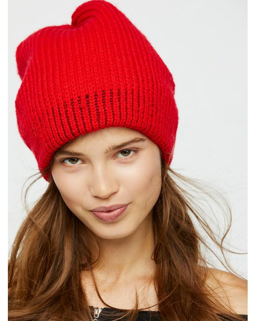 Free People | Red All Day Every Day Slouchy Beanie | Lyst