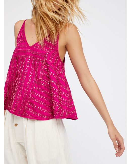 Free People | Multicolor Paths Cross Embellished Cami | Lyst