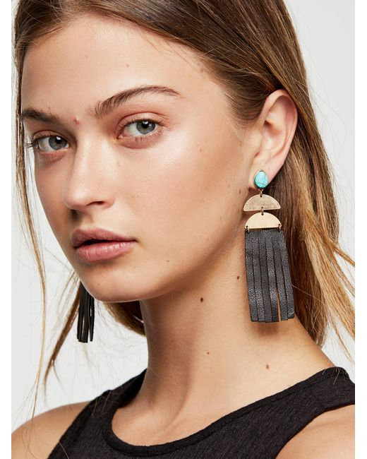 Free People - Black Western Leather Earrings - Lyst
