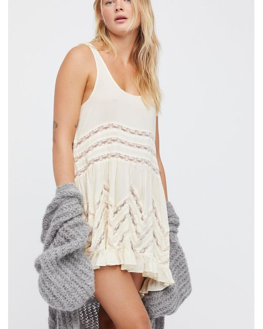 Free People - White Voile And Lace Trapeze Slip By Intimately - Chemise - Lyst