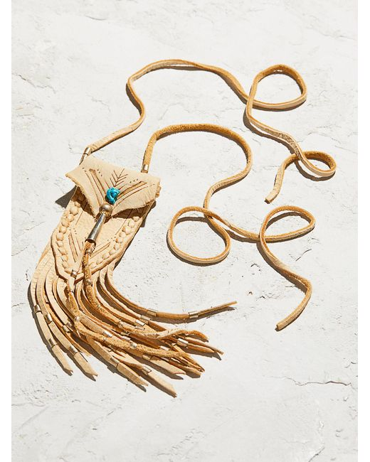 Free People | Multicolor Accessories Designer Jewelry Turquoise & Leather Medicine Bag Necklace | Lyst