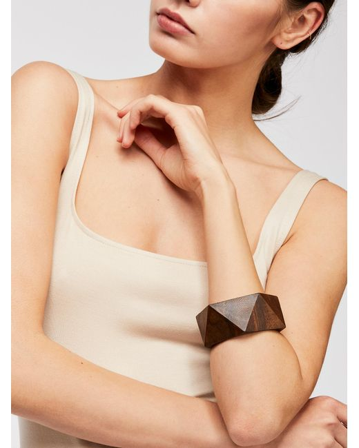 Free People - Brown Wooden Bangle - Lyst