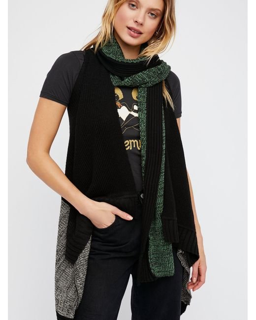 Free People | Black Knit Wit Patchwork Sweater Vest | Lyst