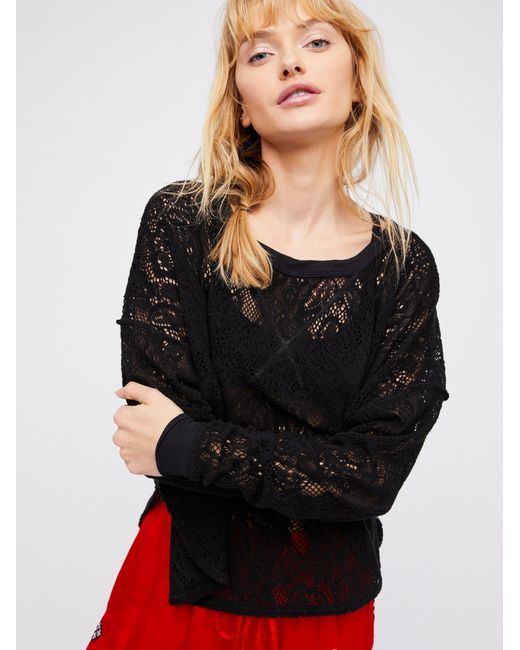 Free People | Black Not Cold In This Top | Lyst