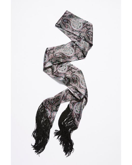 Free People - Black Moxie Print Fringe Skinny Scarf - Lyst