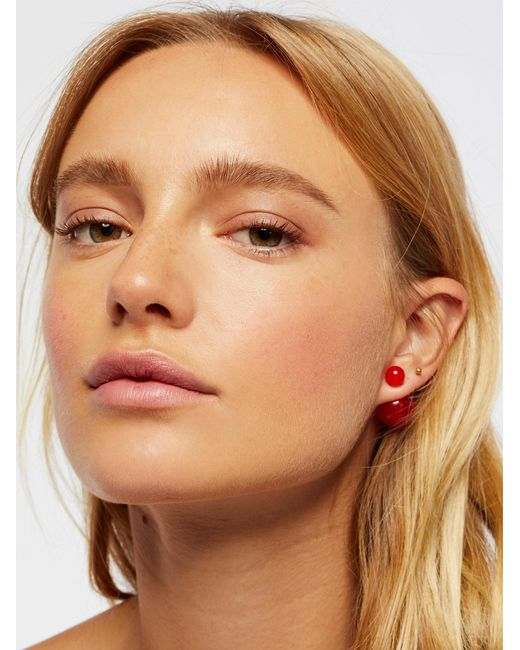 Free People   Red Double Sided Orbit Studs   Lyst