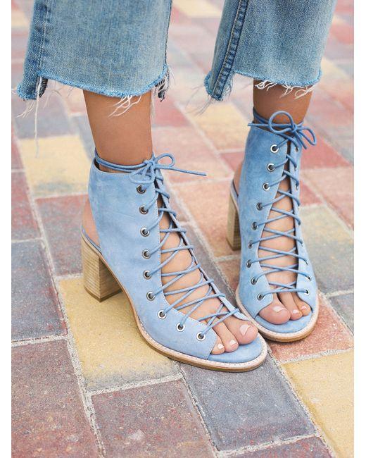 Free People | Blue Minimal Lace Up Heel | Lyst