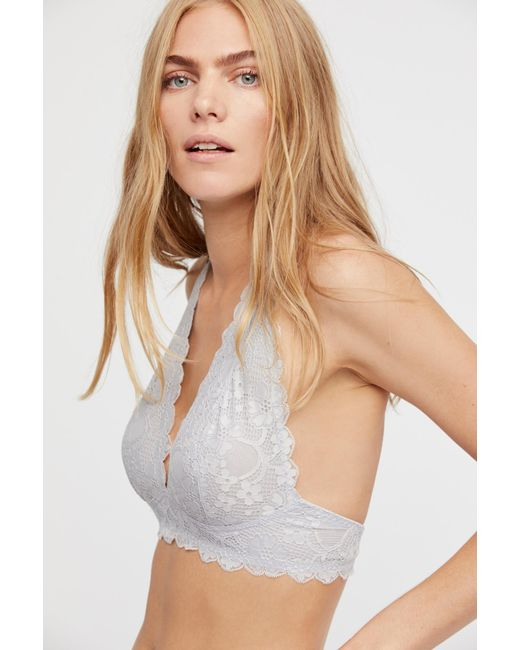 1c14222ca08e9 Free People - Gray Intimates Bras Halters Galloon Lace Halter Bra - Lyst ...