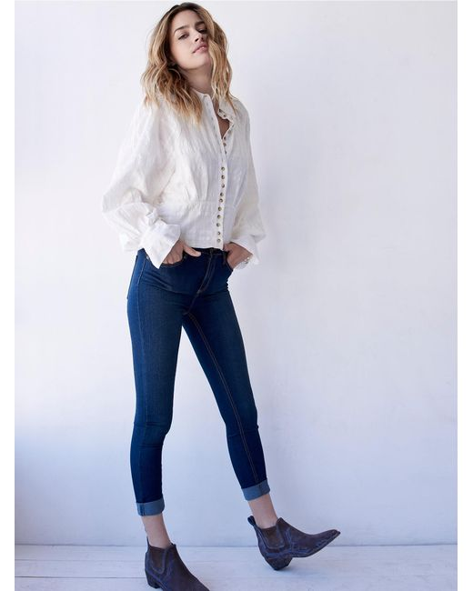 Free People | Blue High Rise Roller Skinny | Lyst
