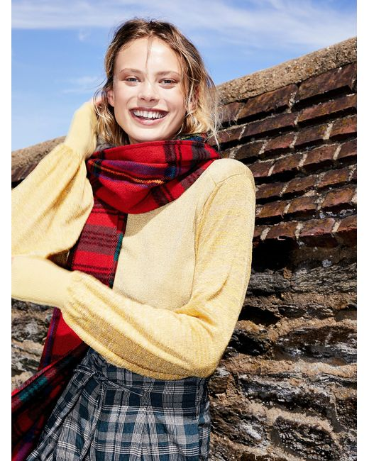 Free People | Red Accessories Scarves Evie Plaid Fringe Scarf | Lyst