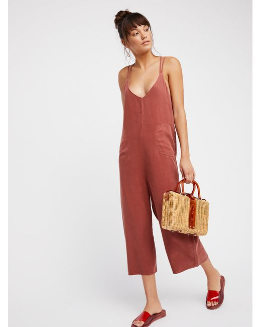 Free People | Red Wide Leg One-piece | Lyst