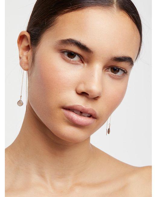 Free People | Brown Teardrop Threader Earrings | Lyst