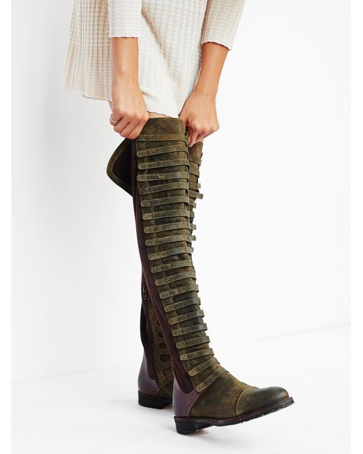 Free People | Green Black Forest Suede And Leather Over-The-Knee Boots | Lyst