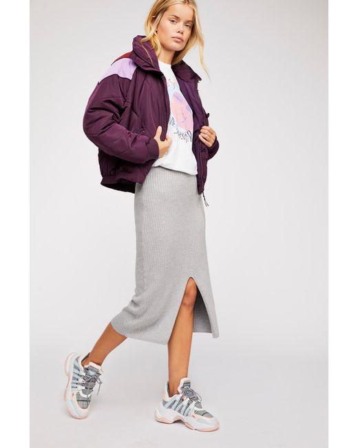 ad35856563376 Free People - Gray Skyline Midi Skirt - Lyst ...