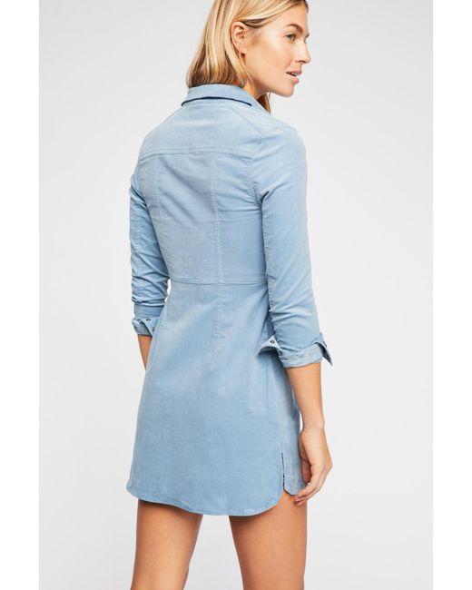 be8eccb6065 ... Free People - Blue Dynamite In Cord Mini Dress - Lyst ...