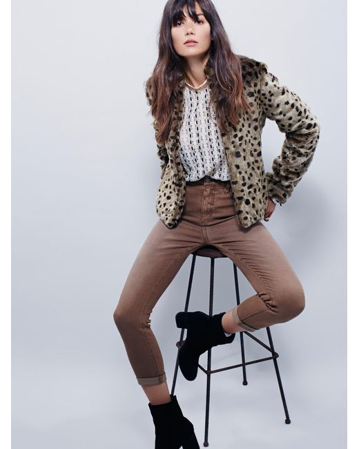 Free People | Brown High Rise Roller Skinny | Lyst