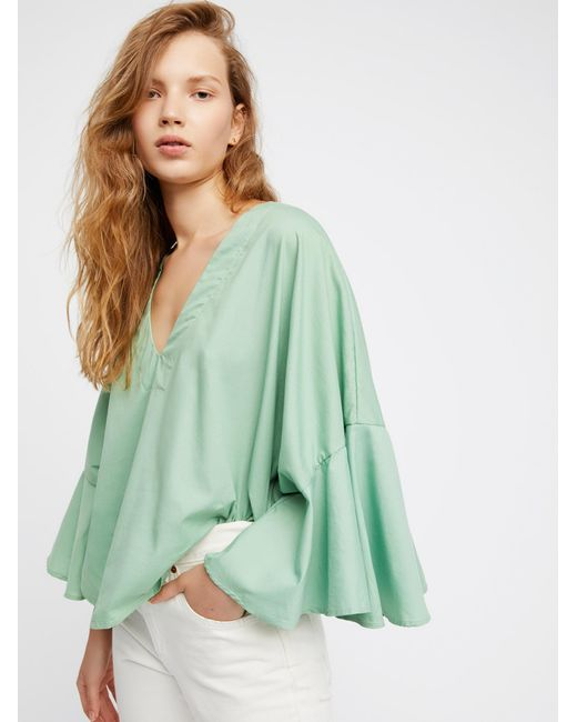 Free People | Green Lydia Top | Lyst