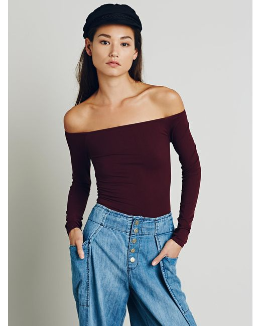 Free People   Purple Off The Shoulder Solid Top   Lyst