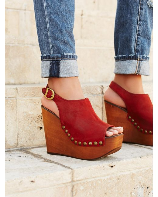 Free People | Orange Olivia Wedge | Lyst