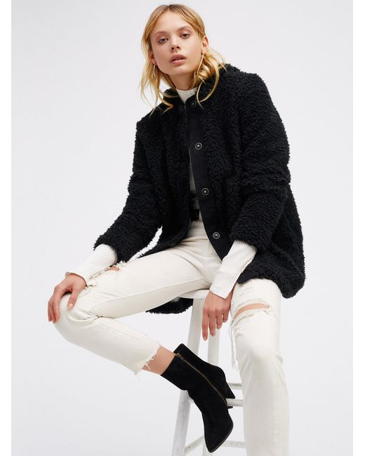 Free People | Black Sherpa And Knit Liner Coat | Lyst