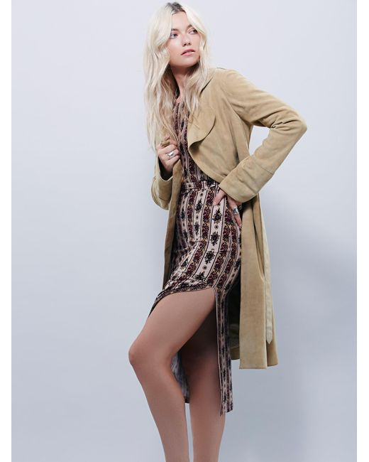 Free People | Metallic Suede Trench | Lyst
