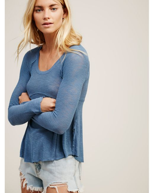 Free People | Blue Super Scoop Top | Lyst