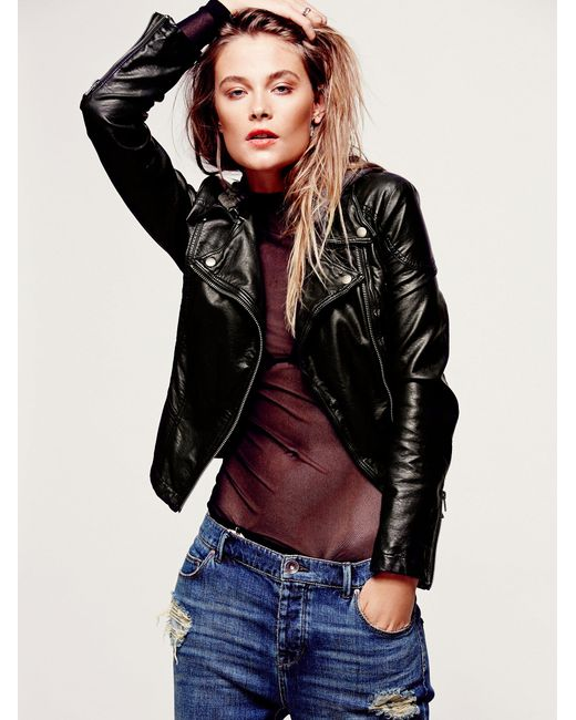 Free People Vegan Leather Hooded Jacket In Black Lyst