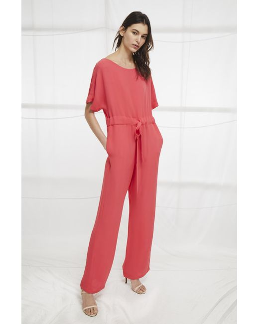 French Connection - Red Patras Crepe Long Jumpsuit - Lyst