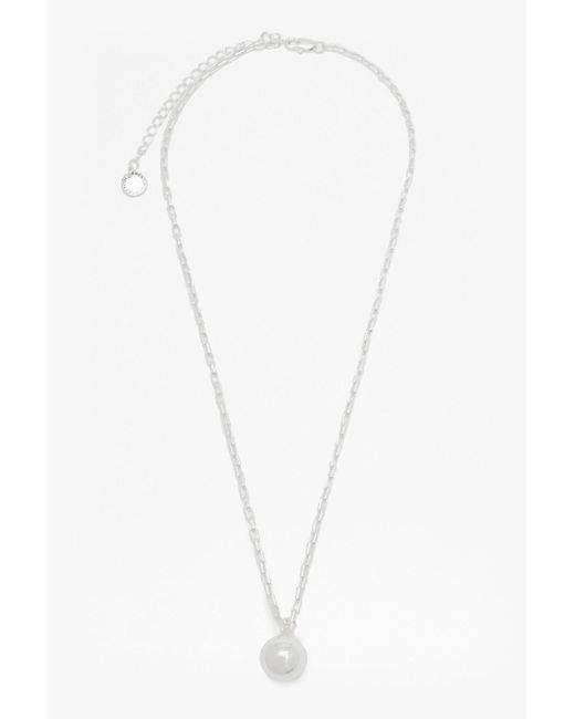 French Connection | Metallic Pendulum Ball Chain Necklace | Lyst
