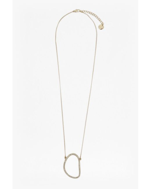 French Connection - Metallic Crystal Oval Pendant Necklace - Lyst