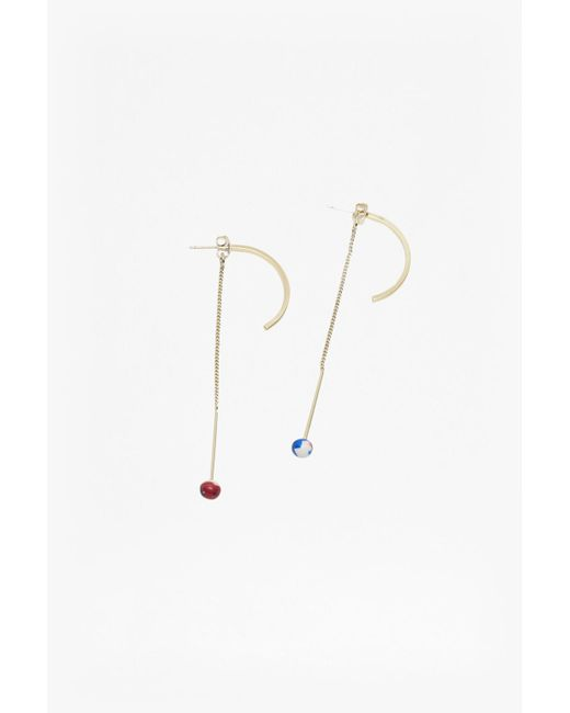 French Connection | Metallic Colour Resin Half Hoop Drop Earrings | Lyst
