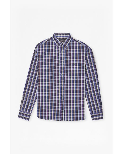 French Connection | Purple Checked Washed Ls for Men | Lyst