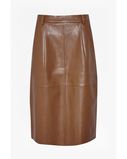 French Connection   Brown Patrice Faux Leather Skirt   Lyst