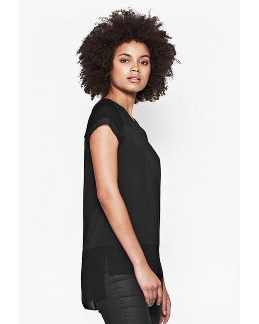 French Connection | Black Polly Plains Chiffon Trim T-shirt | Lyst