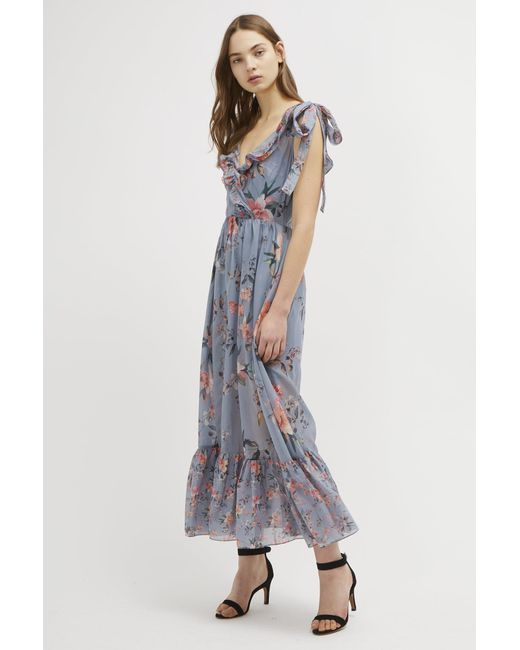 1aa621b2787 French Connection - Blue Cecile Sheer V Neck Maxi Dress - Lyst ...