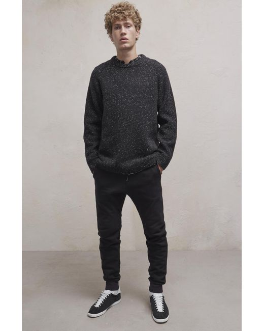 French Connection | Black Oversized Donegal Crew Neck Jumper for Men | Lyst