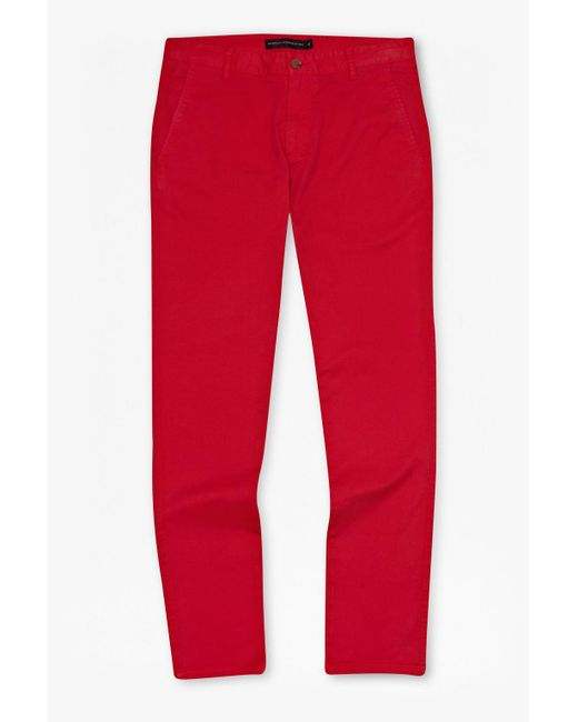 French Connection | Red Sam Slim Cotton Trousers for Men | Lyst
